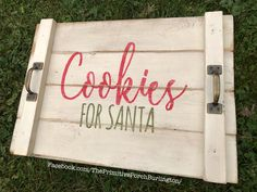 """""""Cookies for Santa"""" trays! Looking at these give me a warm feeling thinking of the magic of Santa.❤️ .  20x14 inches. $29.   Rustic handmade wooden Christmas tray.  Available for TWINKLE AND TWIGS HOLIDAY CELEBRATION. November 11th-13th.  Shipping available. Christmas Booth, Christmas Craft Show, Christmas Wood Crafts, Christmas Signs, Christmas Projects, Christmas Themes, Holiday Crafts, Christmas Decorations, Winter Wood Crafts"""