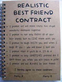 ReALiStiC Best Friend Contract – 5 x 7 journal – ReALiStiC Best Friend Vertrag – 5 x 7 Tagebuch – Related posts: ReALiStiC Best Friend Vertrag – 5 x 7 Tagebuch – … Bester Freund Vertrag – Tagebuch – Geschenke … Bff Quotes, Friendship Quotes, Funny Quotes, Friend Friendship, Usmc Quotes, Friendship Gifts, Bestfriend Goals Quotes, Funny Friendship, Bff Goals