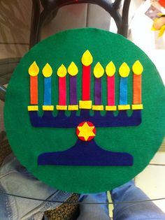 Felt Chanukah menorah