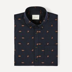 Jacquard patterns are unique in that they are weaved into the fabric rather than printed on. You'll find it here in a thick texture and small, cheeky foxes. Layer this fine piece of shirting under a dark knit and the subtle pops of color are sure to add a