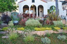 drought resistant landscaping | Drought tolerant front yard mediterranean landscape