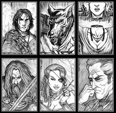 Ravenloft portraits 1 by Everwho on DeviantArt Character Portraits, Mixed Media Collage, Victorian Gothic, Sci Fi Art, Drawing Techniques, Dungeons And Dragons, Fantasy Art, Horror, Sketches