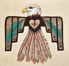 Illustration art design graphics native american eagle thunderbird mixed media artists on tumblr pen and ink
