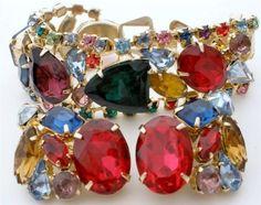 Rhinestone Bracelet Earrings Set High End