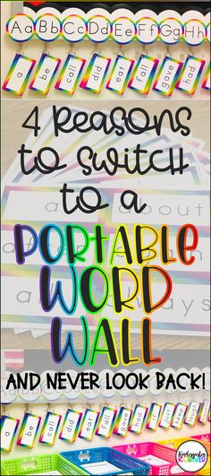 4 Reasons to Switch to a Portable Word Wall - Kindergarten Korner Word Wall Kindergarten, Kindergarten Classroom Decor, Classroom Walls, Kindergarten Lessons, Classroom Ideas, Preschool Word Walls, Seasonal Classrooms, Classroom Design, Literacy Stations