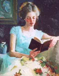✉ Biblio Beauties ✉ paintings of women reading letters & books - Nancy Seamons Crookston