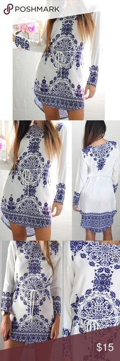 Vintage Porcelain Floral Dress NWT blue and white vintage style porcelain/floral long sleeve dress. Perfect for any occasion. Lightweight, smooth, flowy, and very comfortable. 💖 Dresses