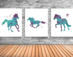 Horse Art, Equestrian Decor, Set of Three Art Prints For Horse Enthusiast - HS1