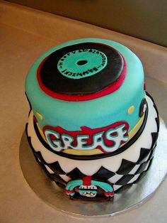 """Grease"" party cake"