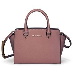 Dusty Rose leather bags | Michael Kors Selma Leather Satchel - Dusty Rose - Jomashop