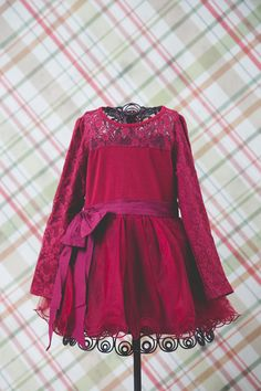 Red Burgundy Christmas Tutu Dress Lace Dress by NicolettesCouture