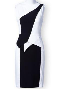 White Black Sleeveless Back Zipper Split Dress