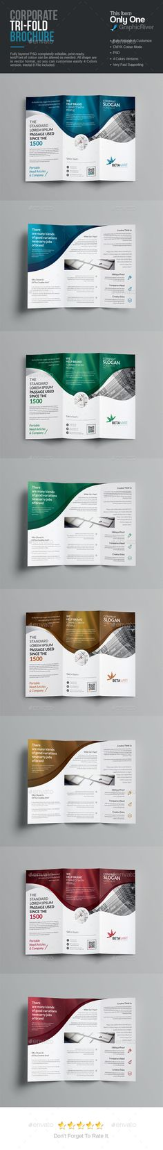 A Z-fold brochure design is comparatively similar to that of tri - psd brochure design inspiration
