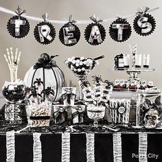 Halloween Candy Buffet Ideas Black and Bone