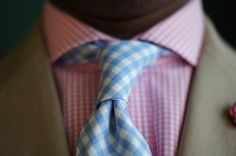When pink and blue gingham look manly.