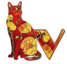 Alfabeto de gatitos con fondo de flores de colores tonos terrosos. | Oh my Alfabetos!