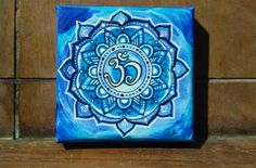 "Acrylmalerei - Mandala Bild ""Blue flower"". - ein Designerstück von PetiteMaman-Atelier bei DaWanda"