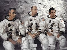 The Apollo 10 Crew. From left to right: Eugene A. Cernan, Thomas P. Stafford and John W. Young.  Credit: NASA