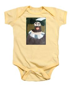 Purchase a Patrick Francis Soft Yellow Designer Baby Onesie featuring the image of Rembrandt 2014 - After Rembrandt Self-portrait by Patrick Francis.  Available in sizes S - XL.  Each onesie is printed on-demand, ships within 1 - 2 business days, and comes with a 30-day money-back guarantee.