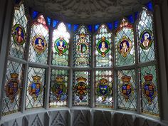 The window of the Round Room, Strawberry Hill House, Richmond, Surry.  The glass, with its rich display of coats of arms, dates from the 19th century, one of the additions made by Lady Waldegrave.  the original house was created by Horace Walpole between 1748 and 1790 as this summer villa in the Gothic revival style.  Photo: found on geograph.org.uk