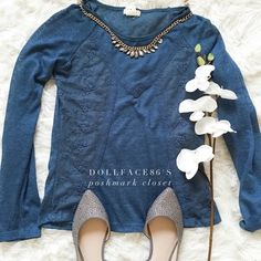 """Blue Boho Lace Detail Tee This top has a cute boho style with blue lace & a nice shade of blue, this tee is comfy & cute{actual color of item may vary slightly from pics}  *shoulders:18"""" *chest:16"""" *waist:15"""" *length:23/sleeves:-26"""" *material/care:80%acrylic20%polyester/hand wash  *fit:true  *condition:good no rips/stains  20% off bundles of 3/more items No Trades  NO HOLDS No transactions outside of Poshmark  No lowball offers Pretty good Tops Tees - Long Sleeve"""