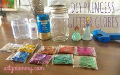 DIY Princess Glitter Globes – ARTY MOMMY  Make your own snow globe -- princess style! Great craft for the littles and oh-so-easy!! Grab a jar, some glitter and a figurine!  Art projects, crafts, kids, preschool, mommyhood, sahm, snow globe, princess, Disney, Ariel, Cinderella, Sofia