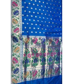 Blue Banarasi Handloom Katan Soft Silk Saree  ------------------------------------------------------------ Indian ladies love to flaunt and look stunning in Sarees just like any celebrity. Add glam to your persona with this striking blue banarasi saree. ----------------------------------Sarees from Luxurionworld