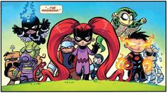 Comic Book Characters, Marvel Characters, Comic Books Art, Baby Avengers, Young Avengers, Medusa, Marvel Kids, Marvel Art, Deadpool Chibi