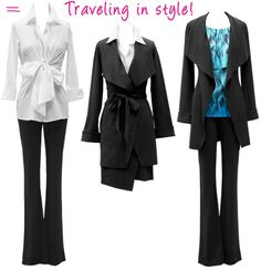 Adding variety and fun to your working girl wardrobe can be challenging enough, but don't let packing for a trip become overwhelming. CAbi's elite Ponte collection is the perfect travel companion for professionals on the go! The Take Charge Jacket, Favorite Trouser and Faux Wrap Skirt are all you need to truly travel in style!