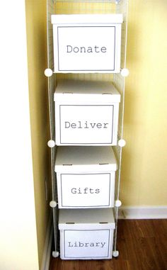 "DIY Storage for ""Transient"" Items. Keeps your good intentions from cluttering your house! Excellent!"