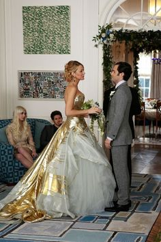 Serena van der Woodsen, Gossip GirlDon't get us wrong. We adore Blair Waldorf's dueling wedding dresses. But this golden Georges Chakra Couture number is so bonkers, so Malibu Barbie, it just had to be included.  #refinery29 http://www.refinery29.com/2015/09/93917/best-tv-show-wedding-dresses#slide-24