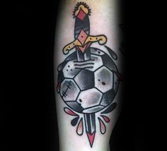 Old School Dagger Through Soccerball Mens Tattoo