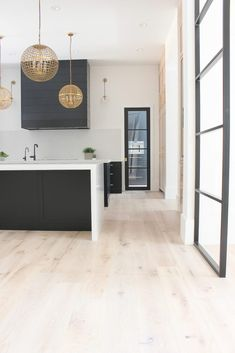I'm just a big bundle of nerves as I'm about to present to you the BIG REVEAL of our brand new modern black and white oak kitchen at The Forest Modern! Light Oak Floors, White Oak Floors, White Oak Kitchen, Black Kitchens, Diy Kitchens, Rustic Kitchen, Rustic Farmhouse, Kitchen Dining, House Ideas