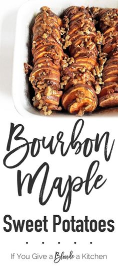 Add a kick to your Thanksgiving side dish with these Bourbon Maple Sweet Potatoes! | Recipe by @haleydwilliams Bourbon Sweet Potatoes, Glazed Sweet Potatoes, Fried Potatoes, Mashed Potatoes, Thanksgiving Side Dishes, Thanksgiving Recipes, Holiday Recipes, Christmas Recipes, Fall Recipes