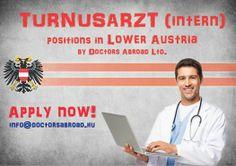 Ha ön jól beszél németül szeretne orvosként Ausztriában dolgozni, itt a kiváló lehetõség. Osztrák kórházak számára keresünk végzés elõtt álló orvostanhallgatókat (hatodéves), frissen végzõs orvosokat, rezidenseket, szakorvosjelölteket és szakorvosokat a medicina összes szakterületén hosszú távú állások betöltésére. Anyagi és szakmai megbecsültség, kiszámítható, tervezhetõ jövõkép, kiváló karrierlehetõség és nyugat-európai életkörülmények. http://www.doctorsabroad.hu/ausztria.html
