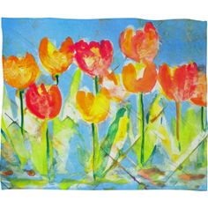 Spring Tulips Fleece by Laura Trevey Throw Blanket Size: Large ($86) ❤ liked on Polyvore featuring home, bed & bath, bedding, blankets, fleece blanket throw, deny designs, plush fleece blanket, plush fleece throw and plush bedding