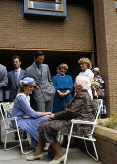 9.7.85 Diana and Charles chat to Mrs Sally Salisbury, a resident of the Llys Elian Residential Home For The Elderly in Colwyn Bay, Wales