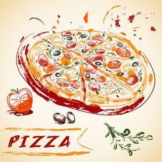 Vintage mão desenhada italiano saborosas fatiado de pizza. Ilustração vetorial. — Ilustração de Stock #85559014