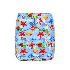 Baby Reusable Suede Cloth Swirling Starfish & Shark Cloth Diaper, 47% discount @ PatPat Mom Baby Shopping App