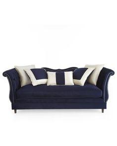"""Haute House """"Horton"""" Navy Velvet Sofa - Neiman Marcus"""