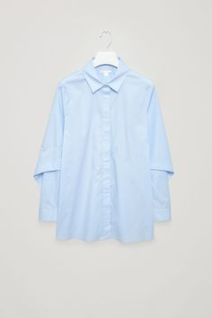 COS image 5 of Shirt with sculptural sleeves in Powder Blue