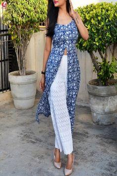 Buy Indigo Blue Printed Cotton Kurti Online in India Kurta Designs Women, Kurti Neck Designs, Kurti Designs Party Wear, Blouse Designs, Latest Kurti Designs, Dress Indian Style, Indian Dresses, Indian Outfits, Kurta Patterns