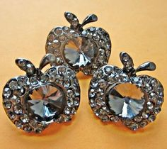 Vintage Style Apple Grey Glass Rhinestone Buttons / eBay