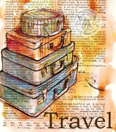 Old Suitcase Drawing - Mixed Media on Distressed, Dictionary Page - flying shoes art studio