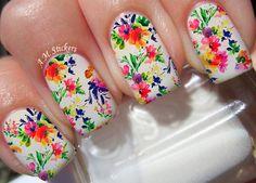 Flowers Nail Art Stickers Transfers Decals Set Of 22 Nail Decals, Nail Art Stickers, Spring Nails, Summer Nails, Toe Nail Designs, Types Of Nails, Christmas Nail Art, Nail Stamping, Nail Artist