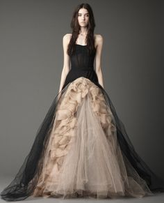 Strapless sheer boned bodice ballgown with organic textured pleating and organza scallops
