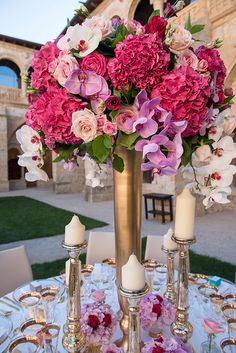 A monastery, may not be your first venue choice but, after swooning over this spellbinding Spain destination luxury wedding – you may ask yourself why not! Fuschia Wedding, Hot Pink Weddings, Wedding Colors, Wedding Flowers, Wedding Veils, Wedding Hair, Bridal Hair, Floral Centerpieces, Wedding Centerpieces