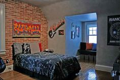 Cool 38 Enchanting Punk Rock Bedroom Design Ideas That Looks So Elegant Urban Rooms, Music Bedroom, Bedroom Design, Kids Bedroom Designs, Rock Bedroom, Farmhouse Bedroom Decor Country, Minimalist Kids Room, Graffiti Bedroom, Kid Room Decor