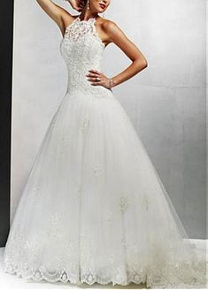 Buy discount Elegant Beautiful A-line High-collarWedding Dress With First-class Fabric And Exquisite Handwork at Dressilyme.com