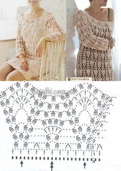 Туника-платье Юлии Твороговой. Схема вязания